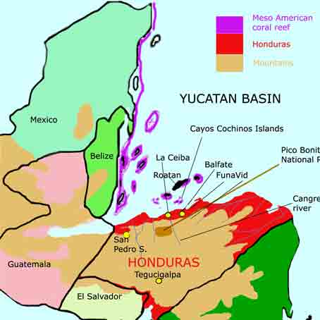 Map of Honduras and adjacent area