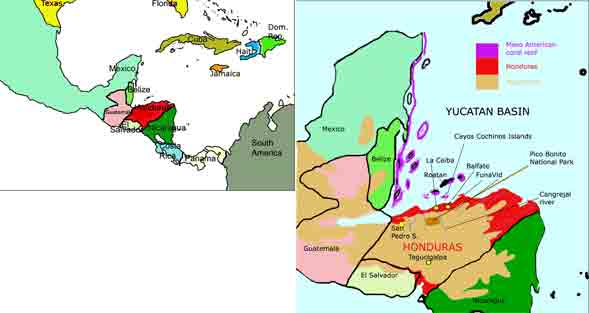 Honduran project rainforest saver a rough location map honduras is colouredoutlined in red and the mountainous area is roughly coloured in as brown on the second map sciox Gallery