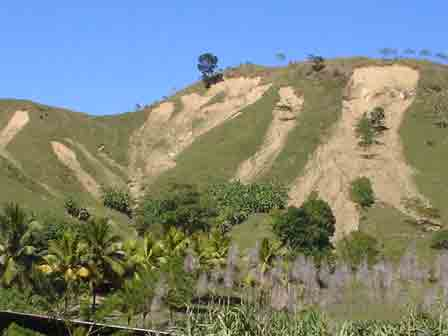 Hillsides denuded by slash and burn